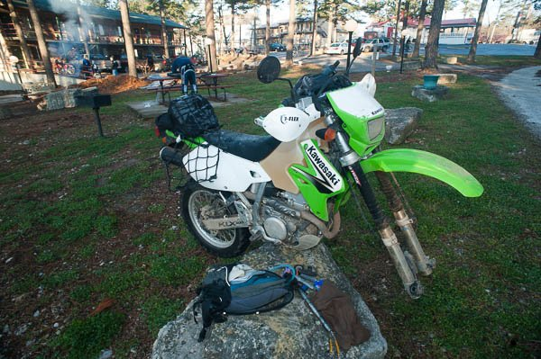 A front tire gets changed in the hotel parking lot during the 2009 Hillbilly Dual Sport Ride.