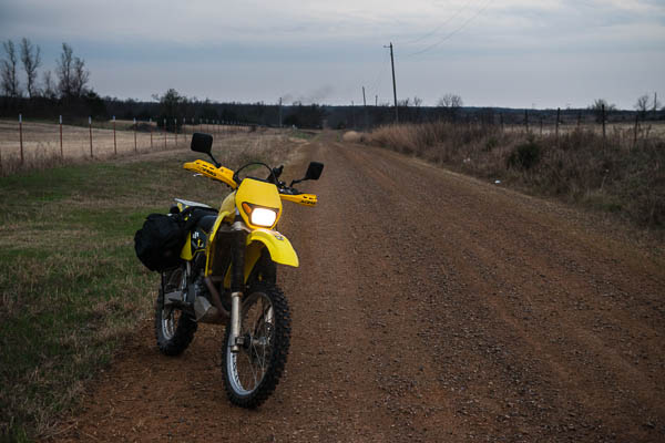 I rode my Suzuki DRZ 400S to Claremore and back.  It was supposed to be a nice day and get warmer, but it got colder and started raining instead.  No heated grips or vest and no wind protection made for a cold ride.  I went down dirt roads near Cushing to bypass rain.