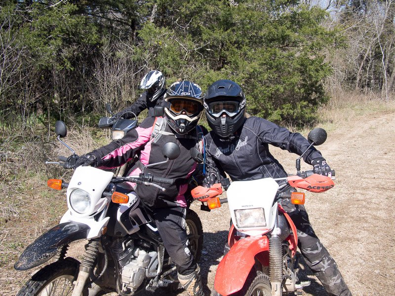 Kay and Connie geared up to ride.