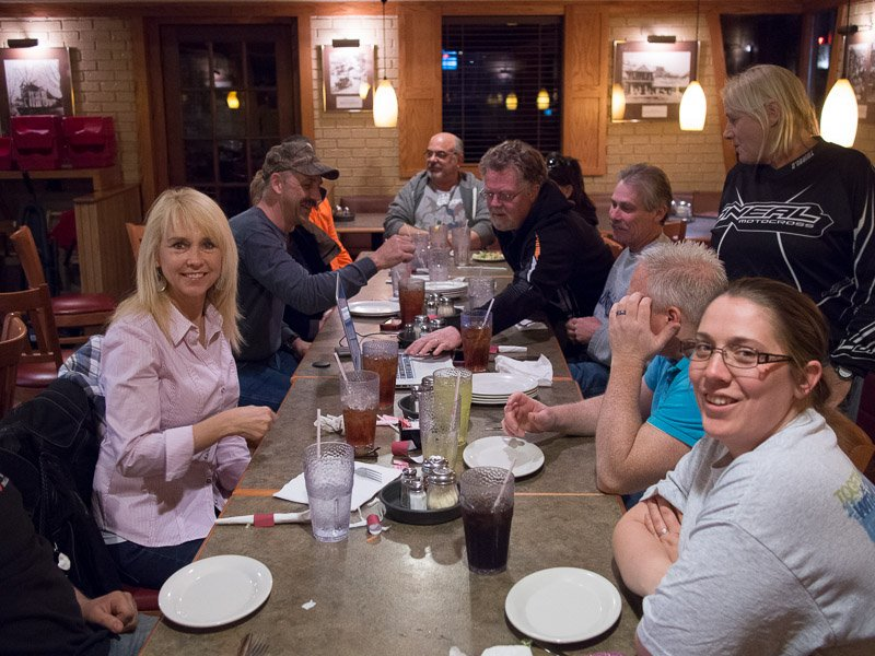 The OKC group eats at a local Pizza Hut after a fun day of riding.