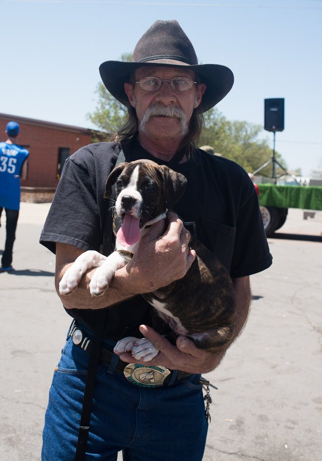 This local brought his dog to the Rattlesnake Roundup.  Was he planning to feed the dog to the snakes?  Or maybe the other way around.