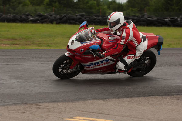 A Ducati laps at Hallett.