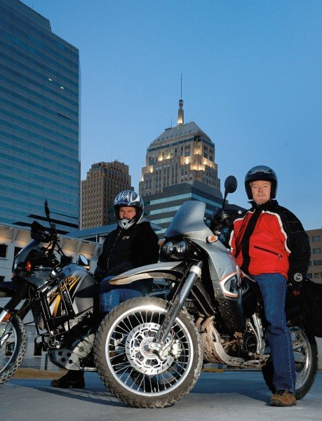 Phil Templeton and David Jungroth on their dual sport motorcycles in downtown Oklahoma City.