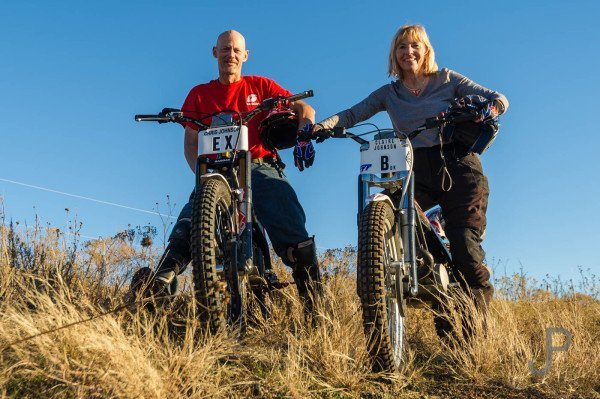 Chris and Claire Johnson both ride observed trials motorcycles.