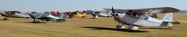Airplanes park outside the Ponca City Aviation Booster clubhouse as the pilots go in for breakfast.