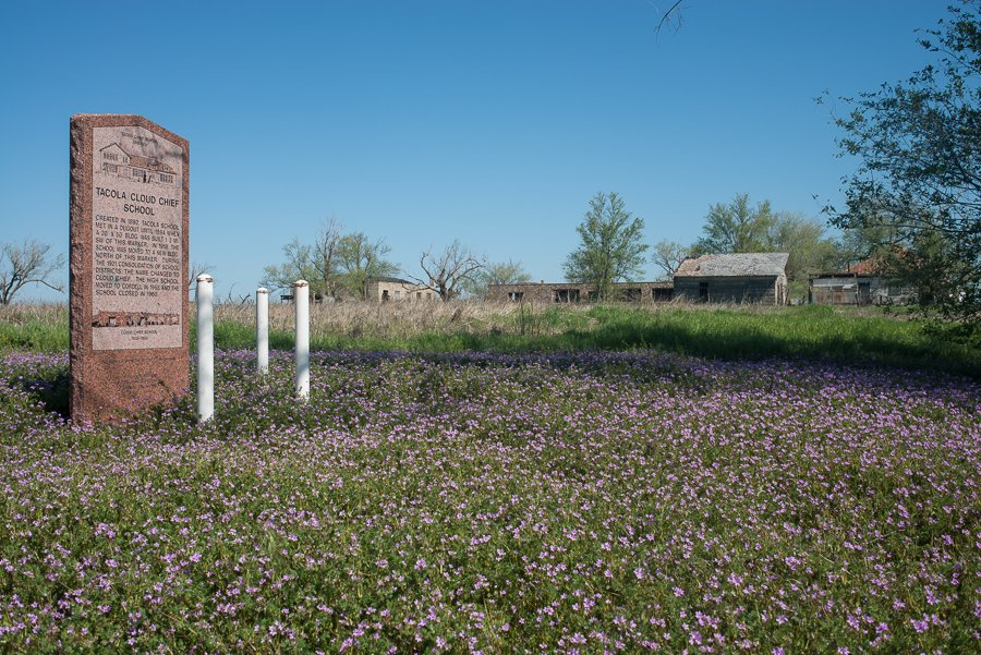 The Oklahoma Historical Society places granite monuments at many historical points around Oklahoma. This one at the old Cloud Chief school provides information on this former Oklahoma Ghost Town.