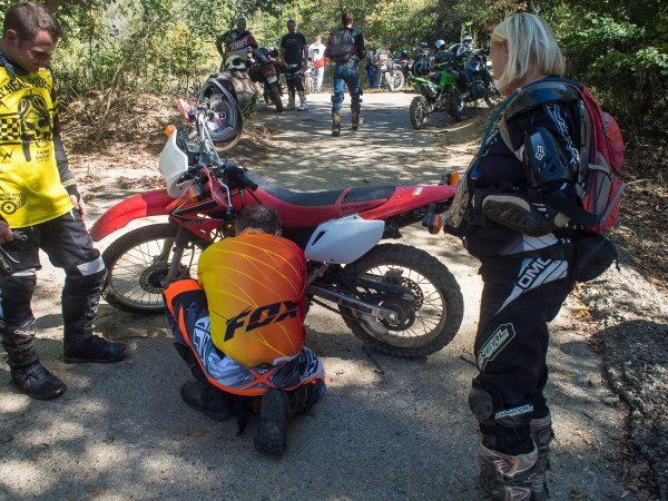 During a stop on the trail we talked about control position - brakes in particular. Phil Templeton adjusted the rear brake lever on several motorcycles to make it easier to apply the rear brake while standing.